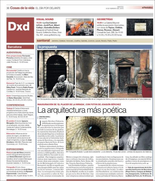 """""""La arquitectura más poética"""" (Cristina Savall), El Periódico, 9/2/2010"""