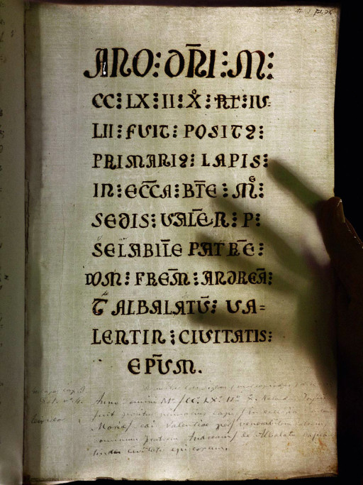 Inscripción conmemorativa de la colocación de la primera piedra de la catedral de Valencia en 22 de junio de 1262. Copia manuscrita del siglo XVIII. 2007