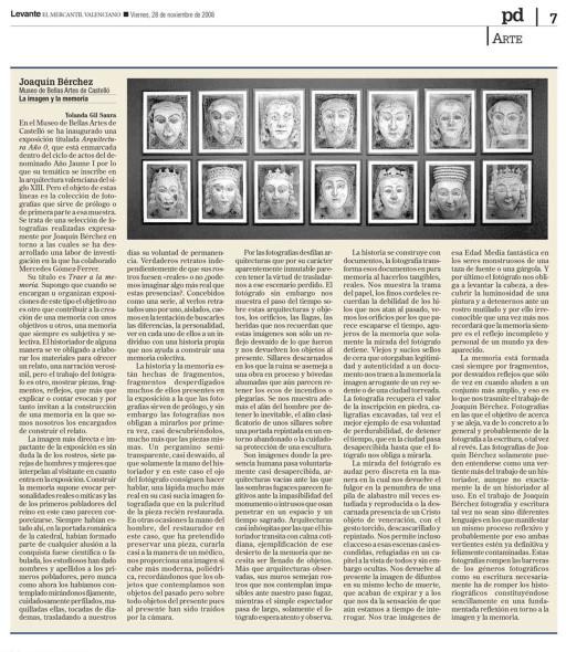 """""""La imagen y la memoria"""", Yolanda Gil Saura, Levante, 28/11/2008"""