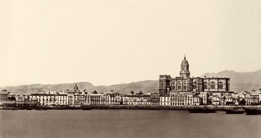 CHARLES CLIFFORD, 15-19/X/1862.  El muelle y la Catedral desde el mar. Andalucía: Málaga