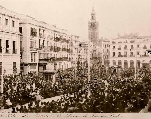 EMILIO BEAUCHY, 1885. La Plaza de la Constitución el Jueves Santo. Andalucía: Sevilla