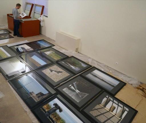Montaje de la exposición. Escuela de Patrimonio Histórico de Nájera