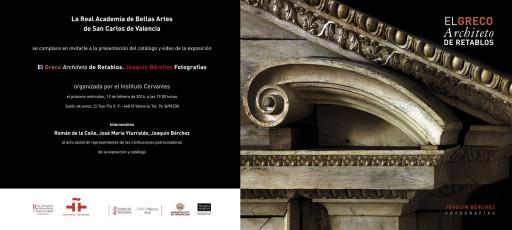 """Invitación de la presentación """"El Greco Architeto de retablos"""" en la Real Academia de Bellas Artes de San Carlos de Valencia"""