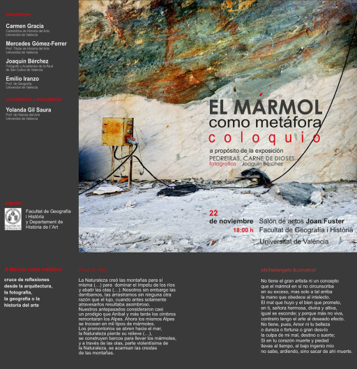 """""""El mármol como metáfora"""", Coloquio organizado en la Facultat de Geografía e Historia de la Universitat de València. 2012"""