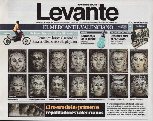 Portada del diario Levante, 7/10/2010
