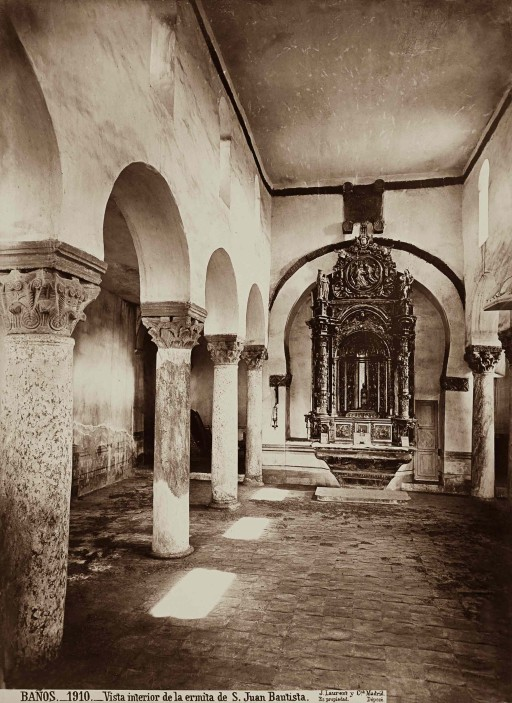 JEAN LAURENT, 1874-92. Vista interior de la ermita de S. Juan Bautista. León: Baños de Cerrato – Palencia