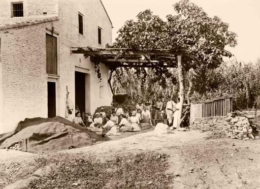 ANNA M. CHRISTIAN, 1915. Embalaje de cebollas para el mercado. Un pueblo de Valencia donde todos los habitantes viven de cultivar cebollas y embalarlas. Valencia